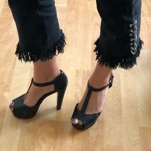 strappy black peep toe heels